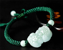 2017 Natural Jadeite A Stone Bracelet Handmade Weave Carved PIXIU Women Men's Gift Bracelets Jades Jewelry+Green/Red/Black Rope green stone boutique burma pixiu pendant jewelry gift 1