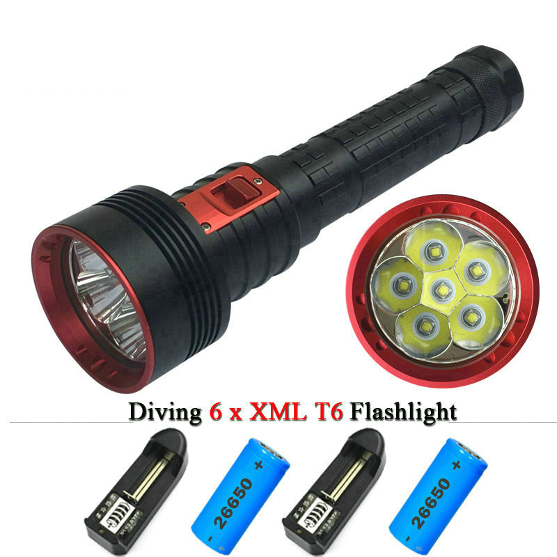 10000 lumens Powerful diving flashlight torch led 6T6 CREE XM L T6 2X 26650 Rechargeable Battery Portable Underwater Lights 2016 powerful underwater flashlight led scuba diving lanterna xml l2 waterproof led torch dive light 18650 26650 rechargeable battery