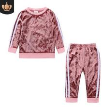 Hot Selling Corduroy Boys Clothes 2019 Spring and Autumn Long Sleeve Baby Girl Clothes Pants Two-piece Set Four Colors FZ9455