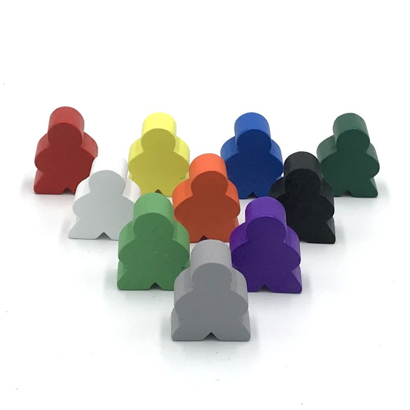20 Pieces Wood Game Chess Board Game Accessories For Meeples Carcassonne Wooden Pieces 10 Colors