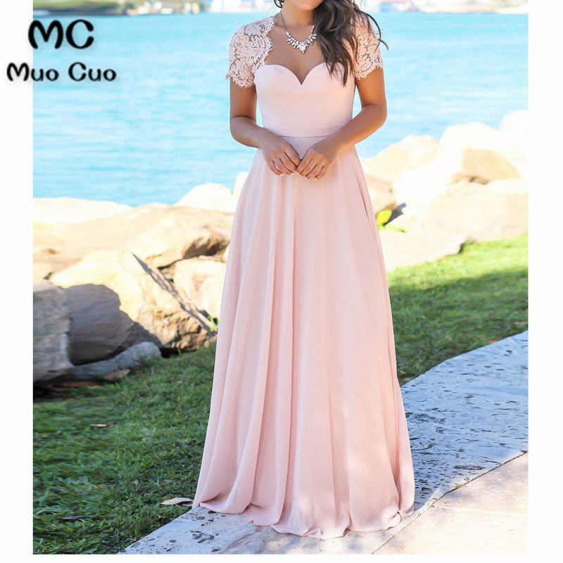 2018 Brilliant A-line   Bridesmaid     Dress   with Lace Short Sleeve Wedding Party   Dress   Sweetheart   Bridesmaid     Dresses   for women