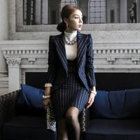 2pcs Women Dress Set Office Lady OL Work Dress Business Formal Dress Striped Sheath Slim Elegant