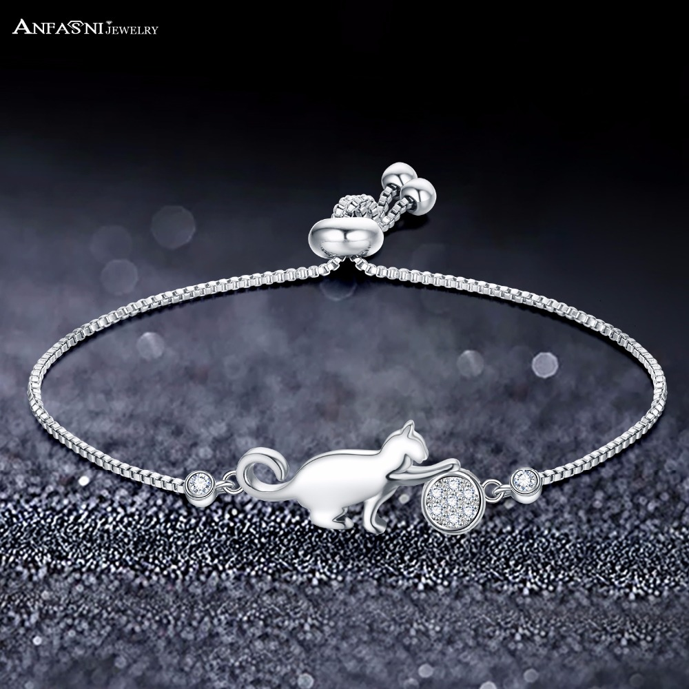 ANFASNI Hot Selling Cute Cat Adjustable Charm Bracelet Clear Cubic Zirconia Bangle Bracelets For Women Jewelry Gift Dropshipping