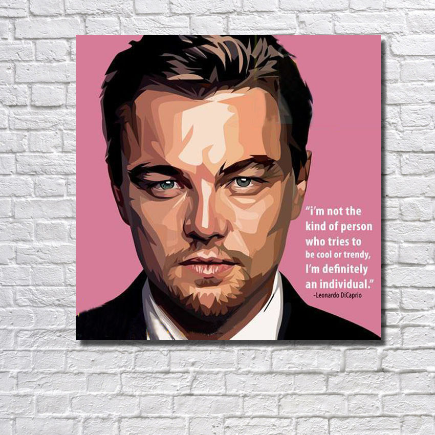 POP <font><b>Leonardo</b></font> <font><b>DiCaprio</b></font> Movie Star handpainted oil <font><b>painting</b></font> Art Wall picture on Canvas figure poster for living room home decor image