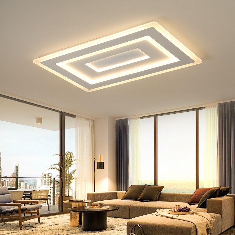 white square modern led chandelier lustre for living room bedroom study room home deco ac85 265v. Black Bedroom Furniture Sets. Home Design Ideas