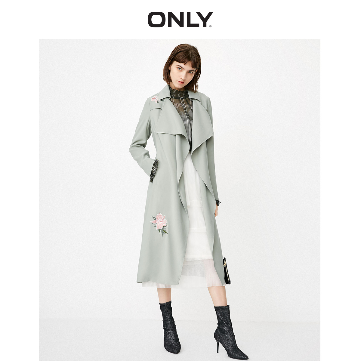 ONLY Women's Lapel Embroidered Cinched Waist Medium Length Wind Coat | 118336512