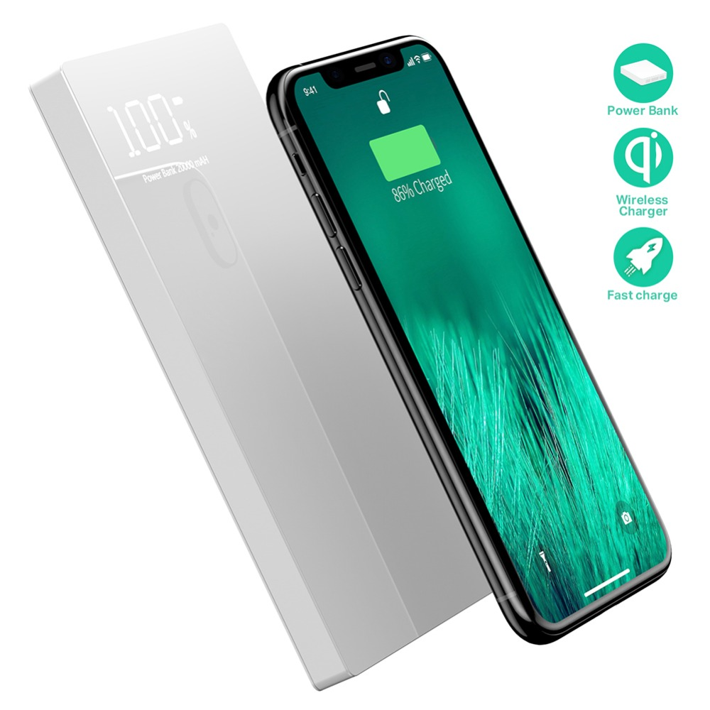 Chargeur sans fil double USB 20000 mAh Qi batterie externe pour iPhone X XS Max 8 Plus Samsung S9 S8 chargeur de batterie chargeur sans fil Pad