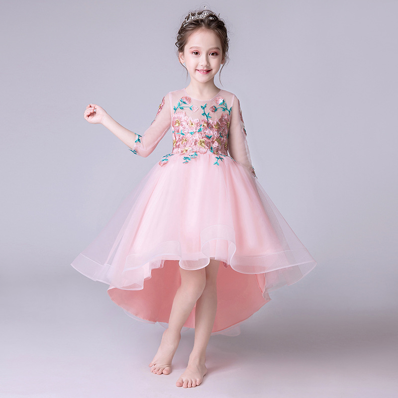 Elegant Spring Summer Pink Princess Flower Girl Dress Kids Half Sleeves Embroidery Pageant Ball Gowns First