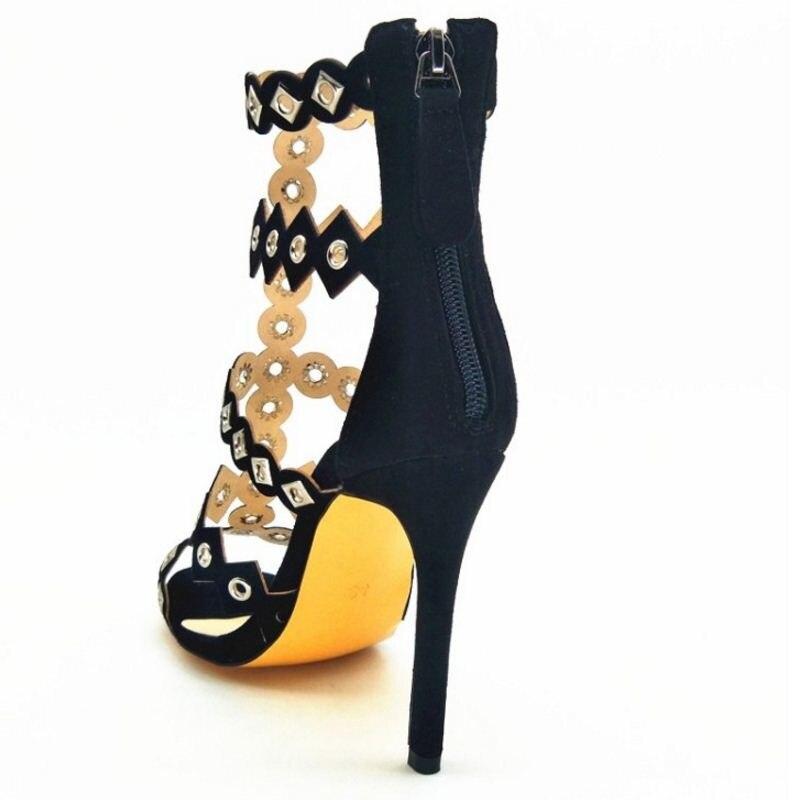 Razamaza Peep Rivets Chaussures Mince Parti 43 Nouveau Fermeture Femmes Taille Éclair Toe Sandales Design 34 Talons Femme Noir Gladiateur qfwq8r