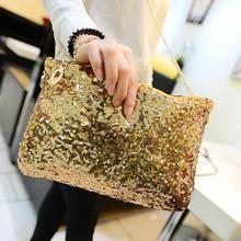 5pcs/lot New  sequins envelope bags fashion chain shoulder women pu leather handbags Sequins