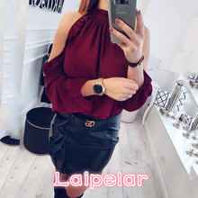 2018 New Women Fashion Open Shoulder Blouse Summer Long sleeve Ruffle Burgundy Green yellow Shirt Casual Loose Blouse Tops