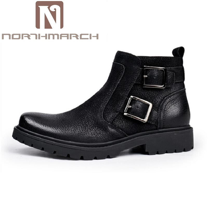NORTHMARCH New Button Zip Plush Warm Ankle Boots Men Round Toe Winter Chelsea Boots Motorcycle Boots High-Top Shoes Erkek Bot men button