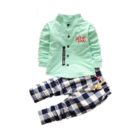 Baby Boys Clothes Bebes Fashion Long Sleeve Top With Plaid Casual Pants Fashion Kids Clothes For