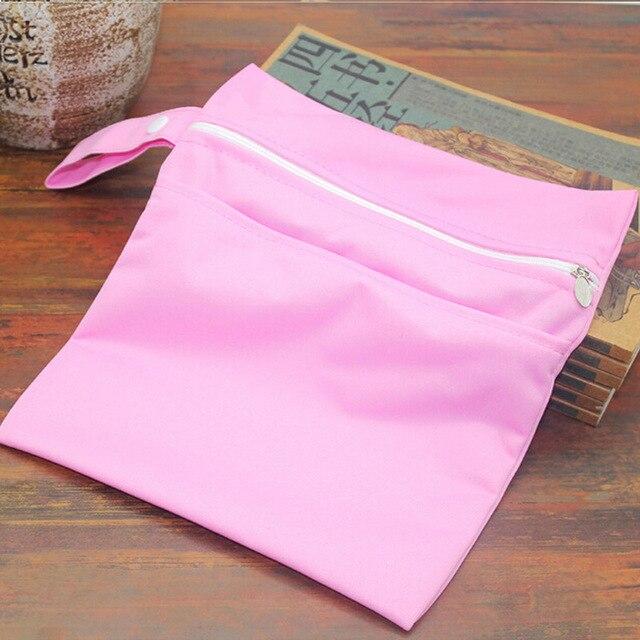 Baby Diaper Bags Double Zippered Wet/Dry Bag Waterproof Wet Cloth Diaper Stroller Hanging Outerdoor Reusable Diaper Cover WetBag