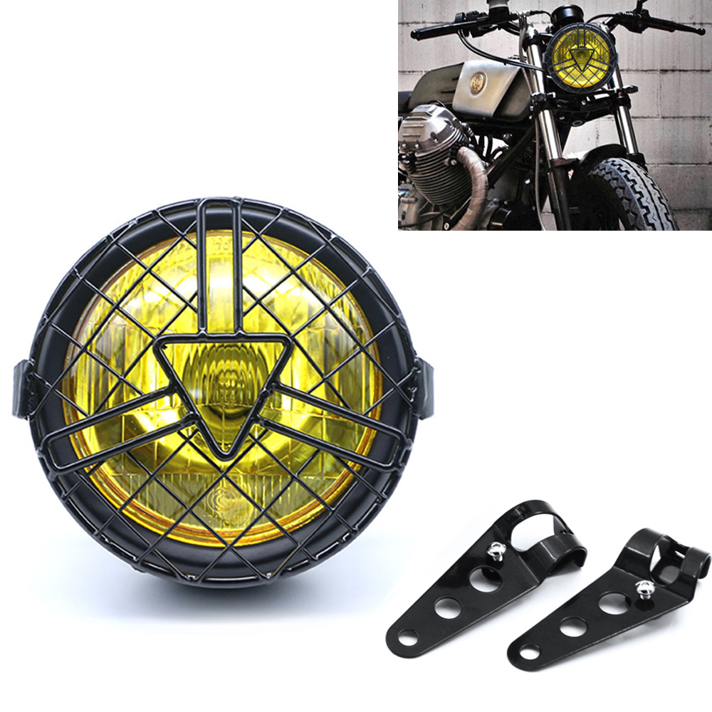 Universal Motorcycle Head Lamp Lampshade Grill Cover Retro Vintage Bracket Mask Mount Headlight For Harley Cafe Racer Bobber