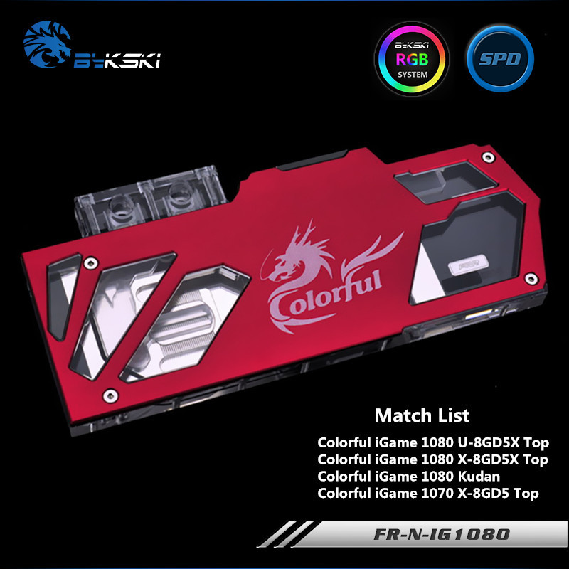Bykski Full Coverage GPU Water Block For Colorful iGame1080 1070 X-TOP Graphics Card Water-Cooled head FR-N-IG1080TI-R bykski n ig1060oncev2 x gpu water cooling block for colorful gtx1060 gaming