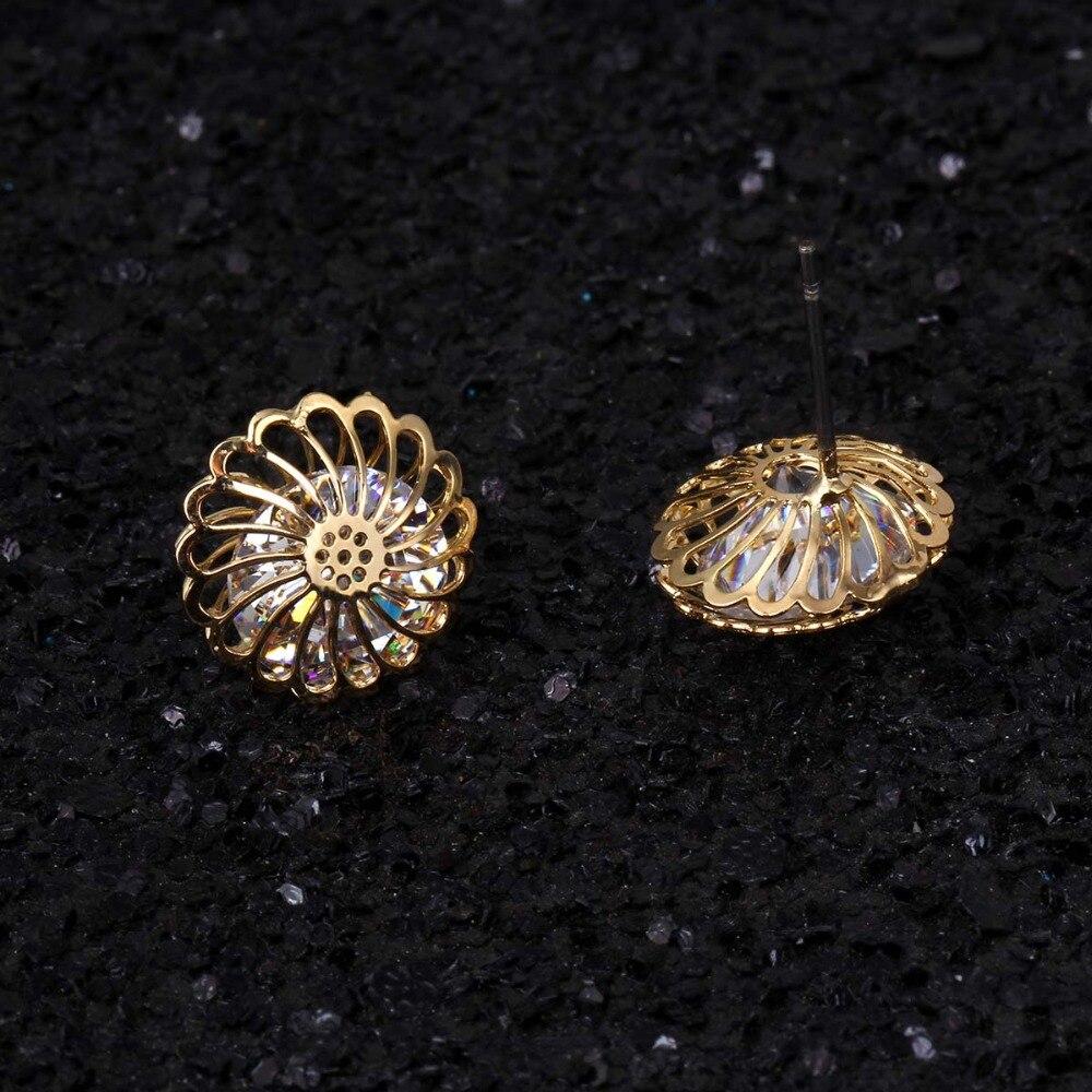 Floweralight Romantic Round Cute Cubic Zircon Earings for Women Fashion Jewelry Hollow Stud Earrings For Girls Jewelery EZ2767