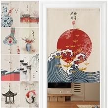 Kitchen Curtains Linen Japanese Bedroom Wave Noren-Home-Entrance-Decoration Door Customizable