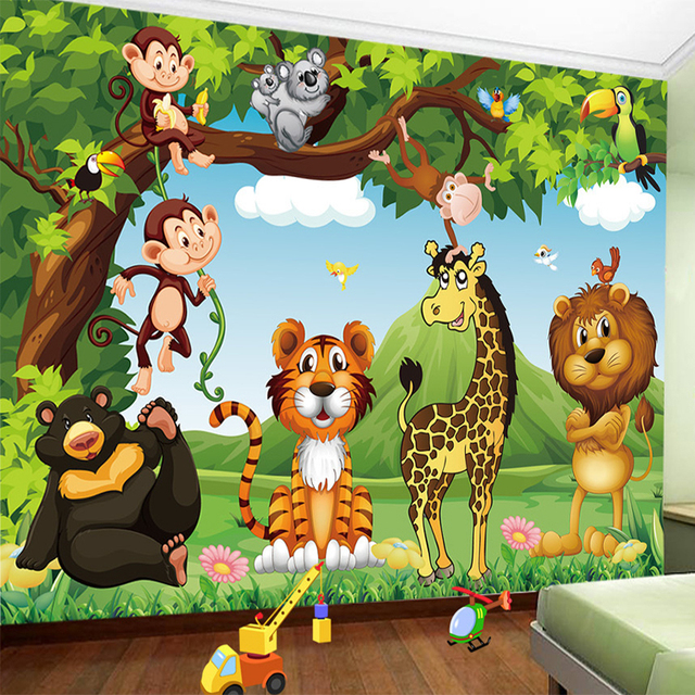 Custom mural wallpaper 3d cartoon animal world children for Child mural wallpaper