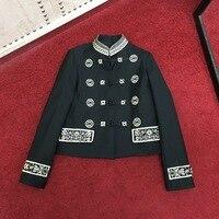 2019 весна осень женские высококачественные джинсовый жакет с вышивкой шикарный винтажный воротник стойка Куртки пальто A261