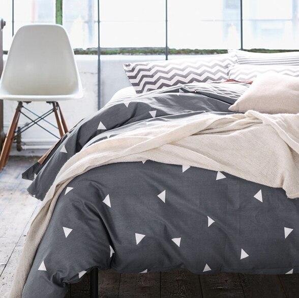 Высокое количество плотность хлопок пододеяльники набор, Черный комплект постельных принадлежностей, одноместный пододеяльники Близнец/Королева/двуспальная кровать, постельное белье # HM4515