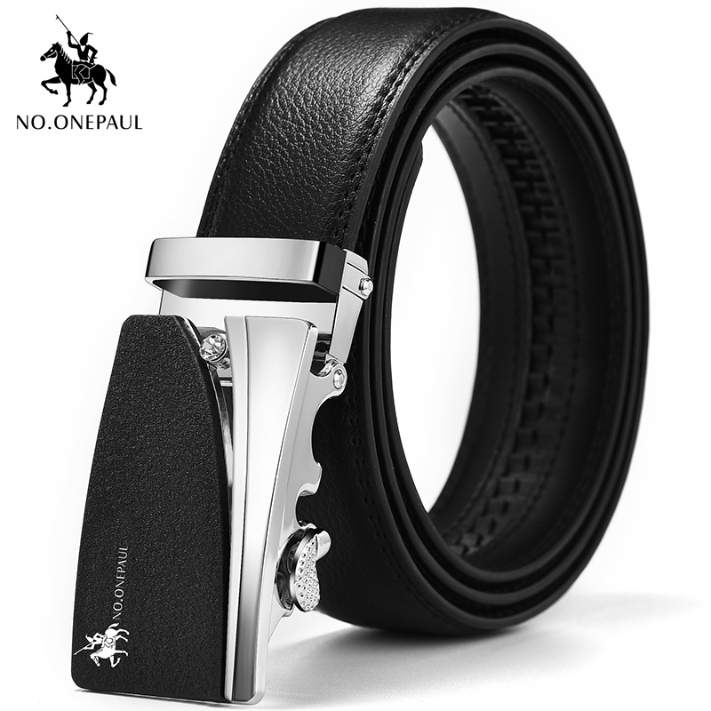 NO.ONEPAUL High Quality Leather Belt For Men Fashion Trend Black And Silver Retro Automatic Buckle Belt For Men, Top Cow Belt