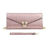 AOEO Luxury Ladies Handbags Upscale Evening Bag Glitter Drawing Case Golden Chain Flower Buckle Fashion Shoulder Messenger Bag