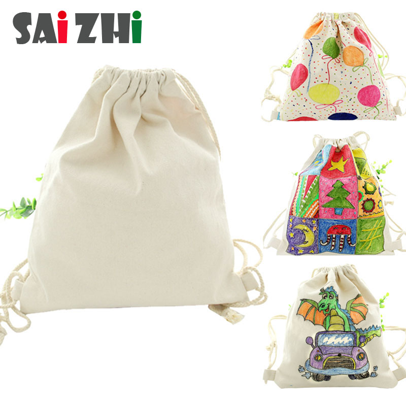 Saizhi Blank DIY Hand Painting Toys Canvas Backpack Shoulder Bag Drawstring Handbag For Kindergarten Painting Toy Z3150