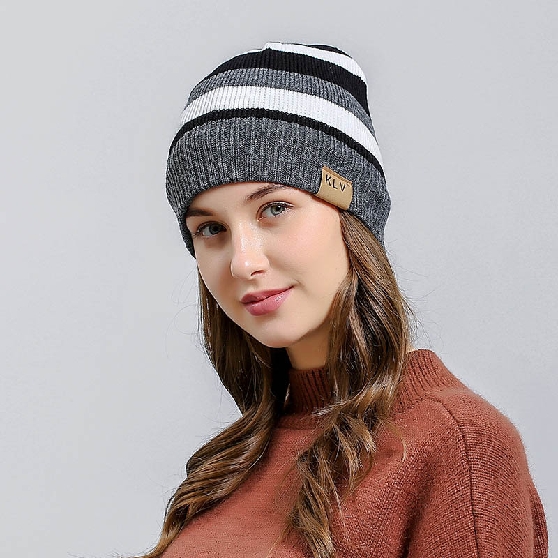 Brave Men Women Knitted Cap Stripe Stiching Wool Beanie Hat For Autumn Winter Outdoor Fs99 Chills And Pains Men's Skullies & Beanies Apparel Accessories