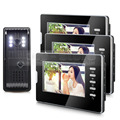 "DIYSECUR Home Security Intercom System Vandalproof Camera 7"" Color Monitors for 3 Rooms"