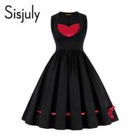 Sisjuly Black Dress Women Lace Up Bowknot Color Block Elegant Dress Female Sleeveless Mid Calf A