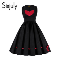 Sisjuly Black Dress Women Lace Up Bowknot Color Block Elegant Dress Female Sleeveless Mid Calf A