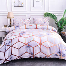 Boniu 3D cuadros vichy grandes mármol patrón 3 uds estampado geométrico juegos de cama suave edredón con fundas de almohada tamaño King Queen