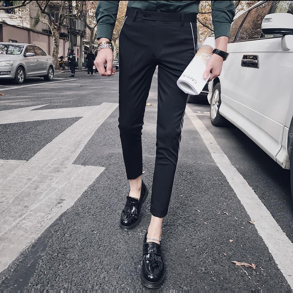 2018 Casual Pants Men Slim Feet Wild Korean Trend Small trousers Stripe Skinny Business Wild Slim 9 Points Pants Men