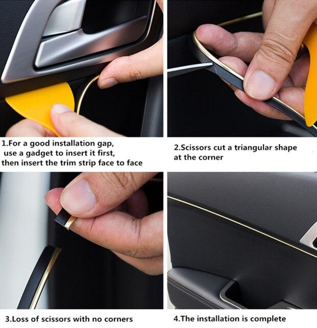 Декоративные полоски для салона автомобиля, 5 м, автомобильные аксессуары для Citroen Picasso C1 C2 C3 C4 C4L C5 DS3 DS4 DS5 DS6 Elysee Quatre