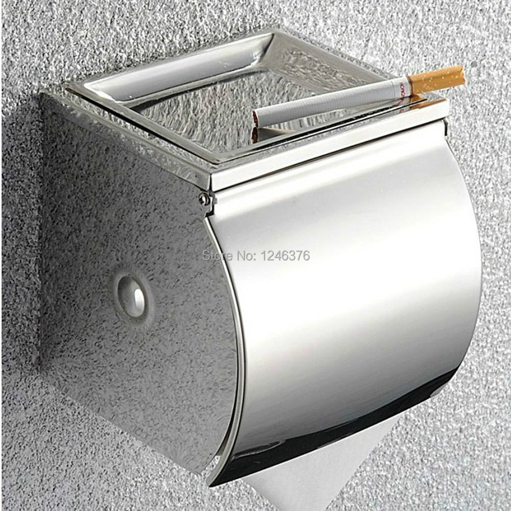 Free shipping Bathroom accessories high quality SUS304 Stainless Steel Toilet Paper Holder Single Roll with Cover, Chrome high quality stainless steel wire drawing water glass holder panel 1pcs for lexus 2016 rx200 rx450h accessories