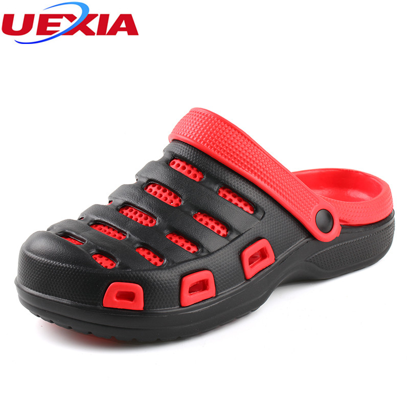 UEXIA Summer Men's Garden Clogs Sandals 2018 Eva Casual Non Slip Water Sandals Mens Lightly Slippers shoes men zapatos hombre aleader summer men slip on garden shoes eva quick dry beach clogs men sandals lightweight unisex water slippers big size sandal