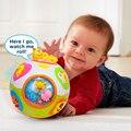 Crianças Bola de Luz e Movimento Crawl Brinquedo Da Criança Do Bebê de Aprendizagem Chaves Número Ensinar Forma Animal Melodias Aprendizagem Bebê Developmental Toy