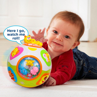 HUILE TOYS 938 Baby Toys Toddler Crawl Toy With Music Light Teach Shape Number Animal Kids