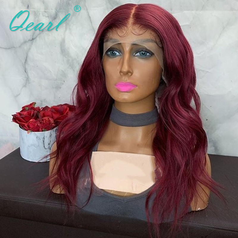 Deep Long Middle Part 13x6 Lace Front Wig Human Hair Wigs 99j Color Pre plucked with