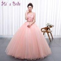 Pink Flowers Appliqued Cheap Long Prom Dresses 2017 V Neck Sleeveless Floor Length Elegant Quinceanera Dress
