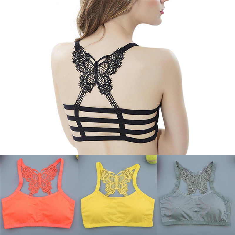 Women Bralette Bra Padded Seamless Bustier Crop Top Black Cropped Tank Tops Sexy Stretch Tank Top Lace Butterfly Back Bra
