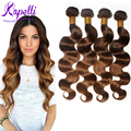 8A Brazilian Virgin Hair Body Wave Ombre Hair Extensions 4Pcs/lot Cheap Brazilian Hair Weave Bundles Soft Ombre Human Hair T4/30