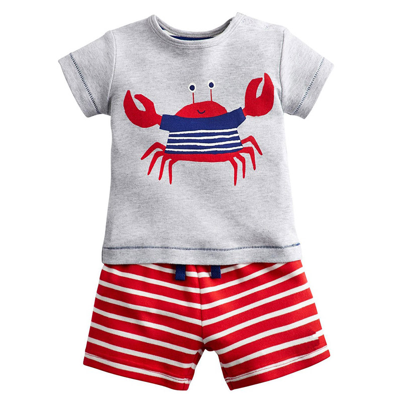 Jumping Meters Kid Clothes <font><b>Animals</b></font> Appliqued <font><b>Tshirts</b></font> + Striped Shorts Boys Clothing Cotton Sets Easter <font><b>Baby</b></font> Boy Outfit 2-7 T image