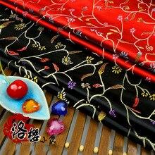 Woven damask jacquard silk satin costume hanfu formal dress baby clothes kimono cos brocade fabric chili flower