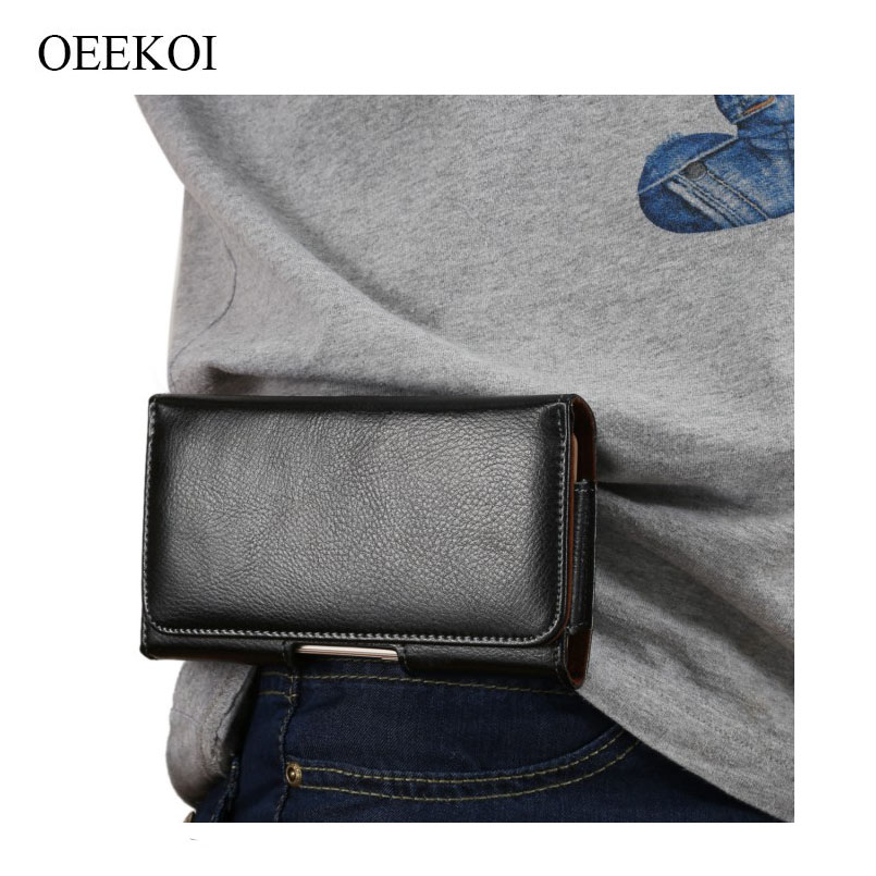 OEEKOI Genuine Leather Belt Clip Pouch Cover Case for Coolpad Note 5 Lite C/Defiant/N2M/Note 5 Lite/Catalyst/Conjr/Tattoo 5Inch