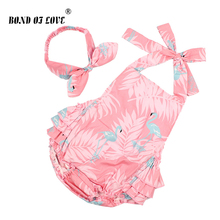 Baby Bodysuits Flamingos Print Loves Infant Girl Clothing Sleeveless Newborn Jumpsuit 2019 Summer Baby Girls Bodysuit цена и фото