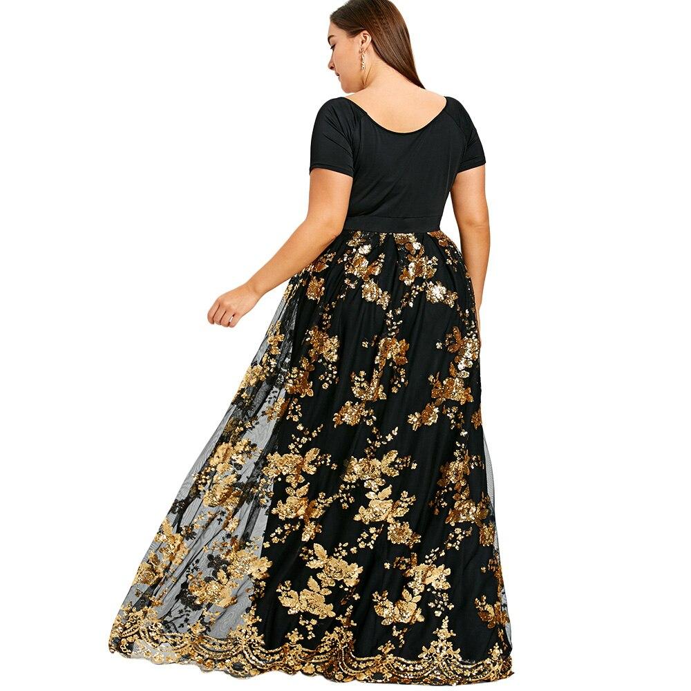 c9ffd8ee88f5b Kenancy Plus Size Dress Women Sexy Deep V Neck Short Sleeves Floral Sparkly  Maxi Dresses Elegant Party Dress Mujer Robe Vestidos