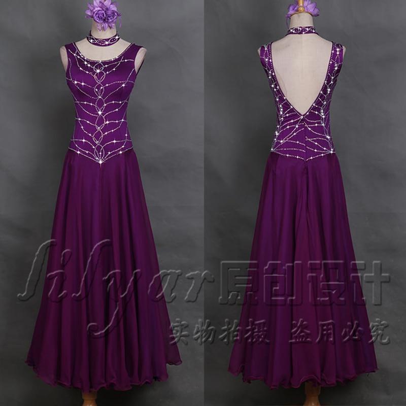Ballroom Dance Competition Dresses Purple Rhinestone Dress Tango Dress Holographic Party Stage Costume Ballroom Dress BL1846