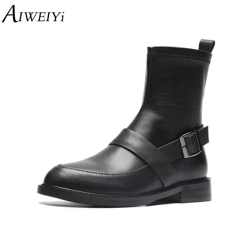 AIWEIYi Lady chaussures bottines confortables talons épais en cuir véritable élégant sans lacet concis femmes chaussures chaussons noirs